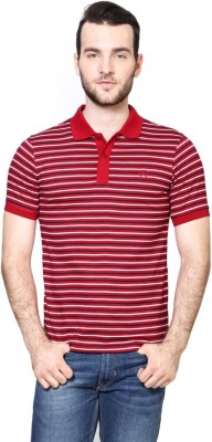 Van Heusen Striped Men's Polo Neck Red T-Shirt