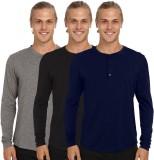 Nicewear Solid Men's Henley Grey, Black,...