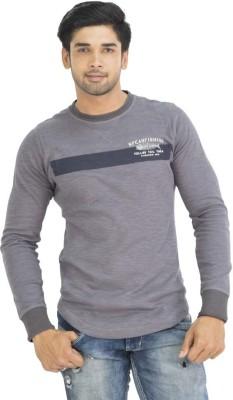 Petroficio Solid Men's Round Neck Grey T-Shirt