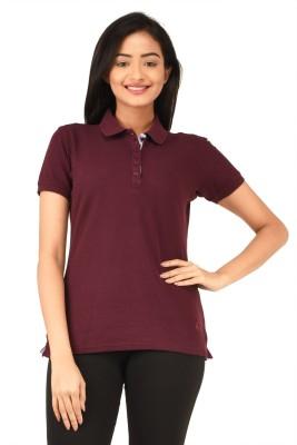 TSG Bliss Solid Women's Polo Neck Maroon T-Shirt