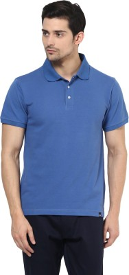 BUKKL Solid Men's Polo Neck Blue T-Shirt