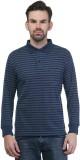 Seaboard Striped Men's Polo Neck Dark Bl...