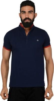 Gotit Solid Men's Flap Collar Neck Dark Blue T-Shirt