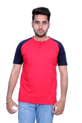 Martech Solid Men's Henley Red, Blue T-Shirt