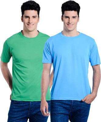 Superjoy Solid Men's Round Neck Green, Light Blue T-Shirt
