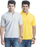 Laconic Solid Men's Polo Neck Grey, Yell...