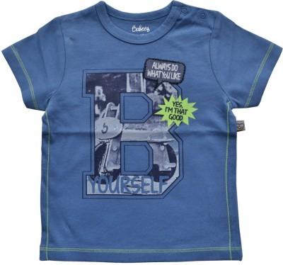 Babeez Solid Baby Boy's Round Neck Blue T-Shirt