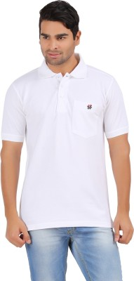 4thneed Solid Men's Polo White T-Shirt