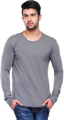 Butterfly Wears Solid Men's Round Neck Grey T-Shirt