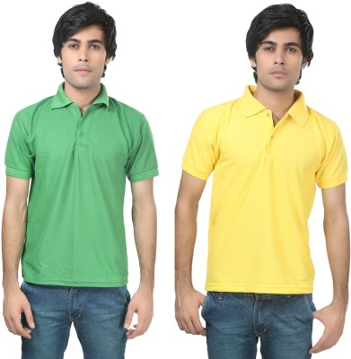 Stylish Trotters Solid Men's Polo Light Green, Yellow T-Shirt
