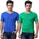 TeeMoods Solid Men's Henley Blue, Green ...