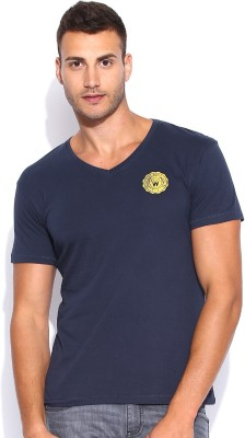 Wrangler Solid Men's V-neck Dark Blue T-Shirt