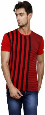 Crux&Hunter Striped Men's Round Neck Red T-Shirt