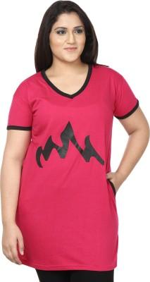 JSR Printed Women's V-neck Pink, Yellow T-Shirt
