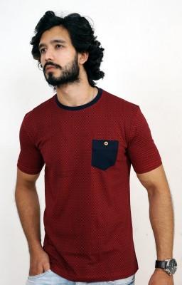 men in class Printed Men's Round Neck Maroon T-Shirt
