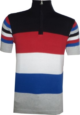 Tick Lish Striped Men's Mock Neck Black, Red, White, Blue, Grey T-Shirt