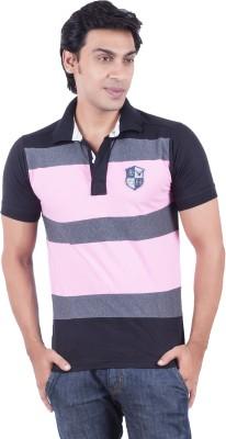 Earls777 Striped Men's Polo Neck Black T-Shirt