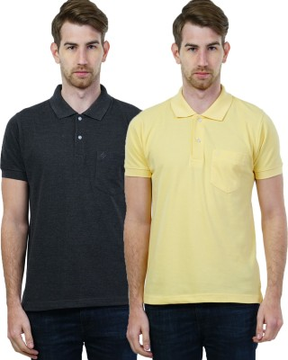 Seaboard Solid Men's Polo Neck Grey, Yellow T-Shirt