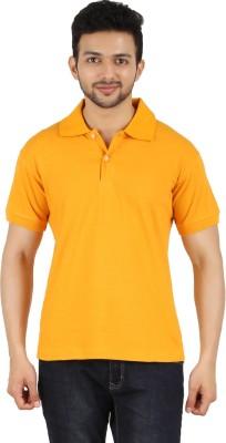 Garudaa Garments Solid Men's Polo Neck Yellow T-Shirt