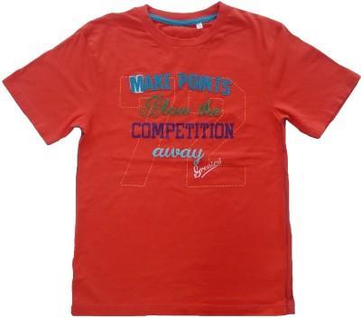 Sonpra Applique, Printed Boy's Round Neck Orange T-Shirt