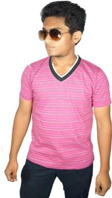 Desi Connection Striped Men's V-neck Pink T-Shirt