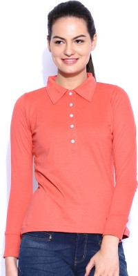 Le Bison Solid Women's Polo Neck Red T-Shirt