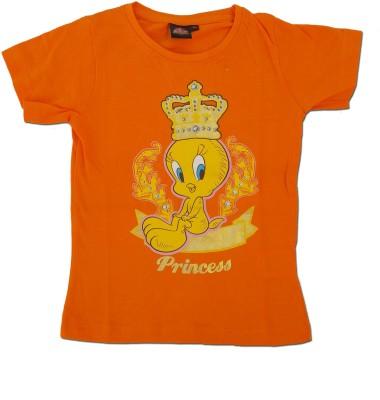 Kuddle Kid Printed Girl's Round Neck Orange T-Shirt