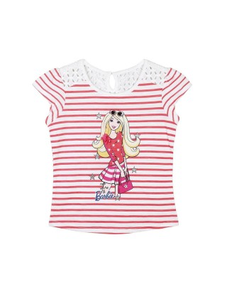 Barbie Striped Baby Girl's Round Neck White, Red T-Shirt