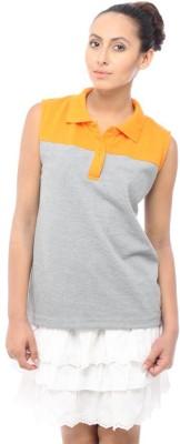 Unicolr Solid Women's Polo Neck T-Shirt