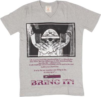 Burnout Printed Men's V-neck Grey T-Shirt