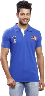 Right Shape Solid Men's Polo Blue T-Shirt