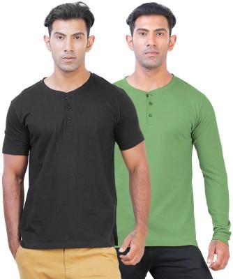 Click Hit Solid Men's Henley Black, Green T-Shirt