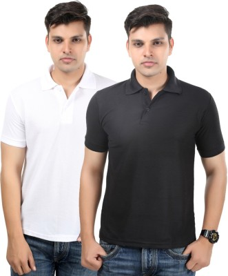 Etoffe Solid Men's Polo Neck White, Black T-Shirt