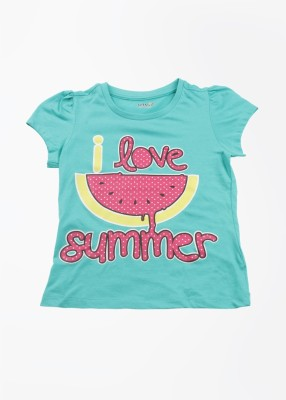 People Printed Girl's Round Neck Green T-Shirt
