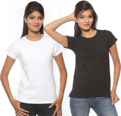 Threadz Solid Women's Round Neck White, Black T-Shirt