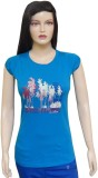 Ultrafit Printed Women's Round Neck Blue...