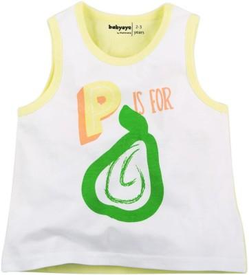 Babyoye Printed Girl's Round Neck Yellow T-Shirt