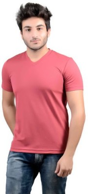 DS WORLD Solid Men's V-neck Maroon T-Shirt