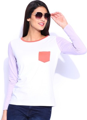 Le Bison Solid Women's Round Neck White T-Shirt
