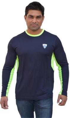 Color Castle Solid Men's Round Neck Dark Blue T-Shirt