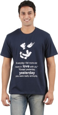 Merica Printed Men's Round Neck Dark Blue T-Shirt