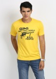 Weardo Printed Men's Round Neck Yellow T...