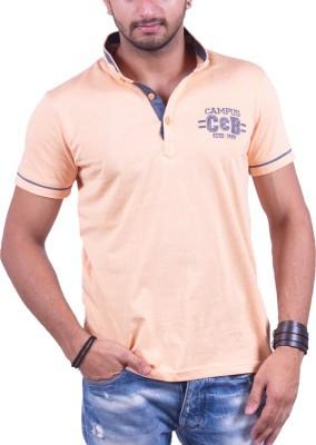 Cotton & Blends Striped Men's Polo Neck Orange T-Shirt