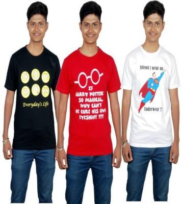 Molecules Printed Men's Round Neck Black, Red, White T-Shirt