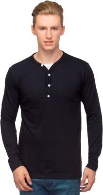 Martech Solid Men's V-neck Black T-Shirt