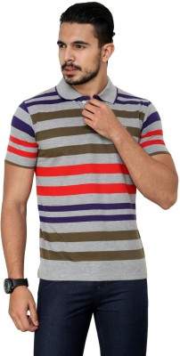 Cotton County Premium Striped Men's Flap Collar Neck Red T-Shirt