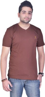 Colors and Blends Solid Men,s V-neck Brown T-Shirt