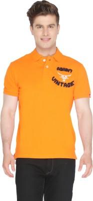 Again Vintage Solid Men's Polo Neck Orange T-Shirt