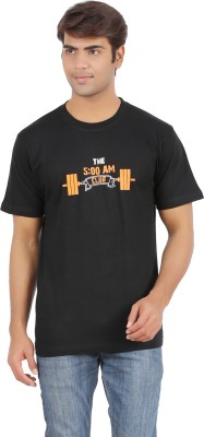 Griteez Graphic Print Men's Round Neck Black T-Shirt