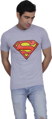B2 Graphic Print Men's Round Neck Grey T-Shirt